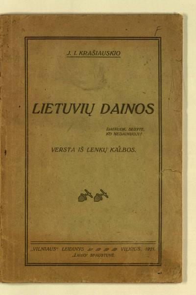 J.I. Krašiauskio Lietuvių dainos. - 1921