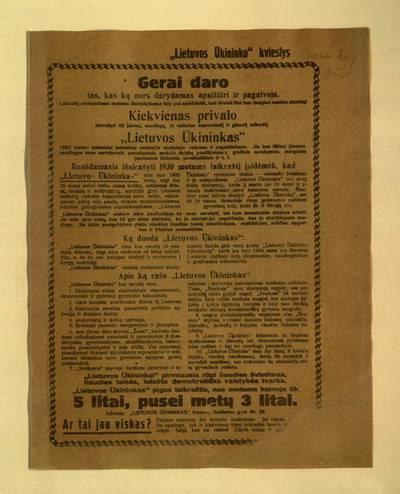 """""""Lietuvos ūkininko"""" kvieslys. Gerai daro tas, kas ką nors darydamas apsižiūri ir pagalvoja. - 1929"""