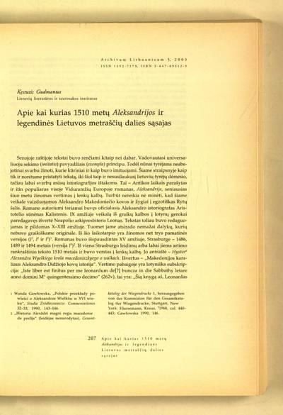 Archivum Lithuanicum. [T.] 5 (2003) : Apie kai kurias 1510 metų Aleksandrijos ir legendinės Lietuvos metraščių dalies sąsajas / Kęstutis Gudmantas