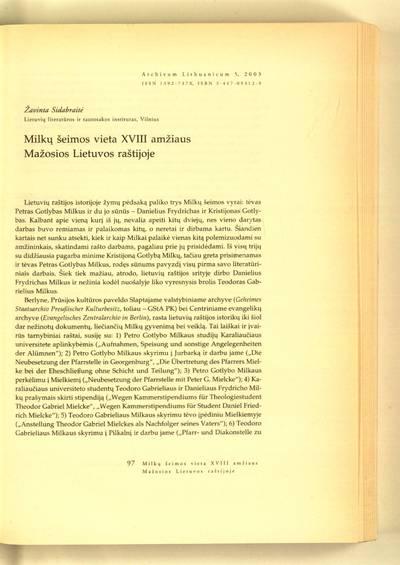 Archivum Lithuanicum. [T.] 5 (2003) : Milkų šeimos vieta XVIII amžiaus Mažosios Lietuvos raštijoje / Žavinta Sidabraitė