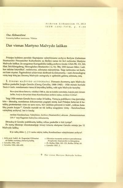 Archivum Lithuanicum. [T.] 15 (2013) : Dar vienas Martyno Mažvydo laiškas / Ona Aleknavičienė