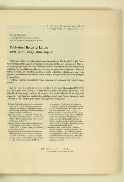Archivum Lithuanicum. [T.] 9 (2007) : Paklydusi lietuvių kalba: 1891 metų lingvistinė mįslė / Jurgita Venckienė