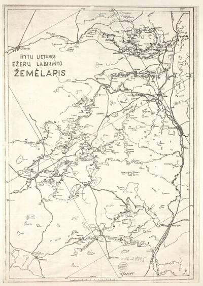 Rytų Lietuvos ežerų labirinto žemėlapis / [sudarytojas S. Kolupaila]. - 1940