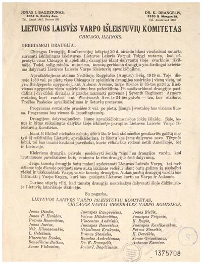 """Gerbiamoji draugija: """"Chicagos draugijų konferencijoj laikytoj 20 d. birželio likosi vienbalsiai nutarta surengti iškilmingas išleistuves Lietuvos laisvės varpui ..."""" / ... Lietuvos laisvės varpo išleistuvių komitetas, Chicagos nariai generalės varpo komisijos. - 1919"""