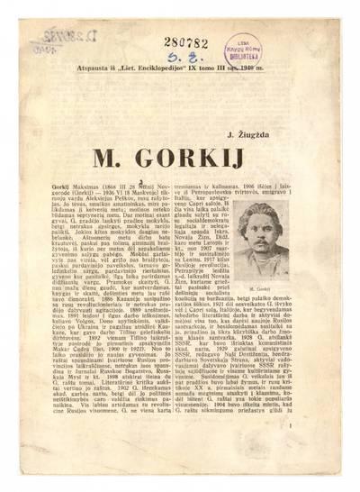 M. Gorkij / J. Žiugžda. - 1940