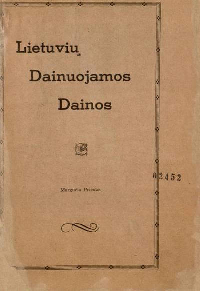 Lietuvių dainuojamos dainos. - apie 1929