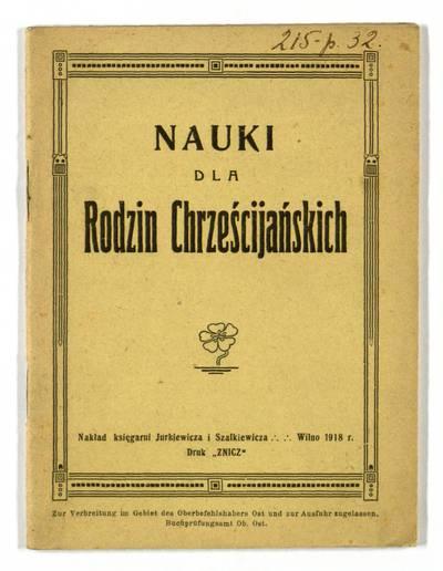 Nauki dla rodzin chrześcijańskich. - 1918