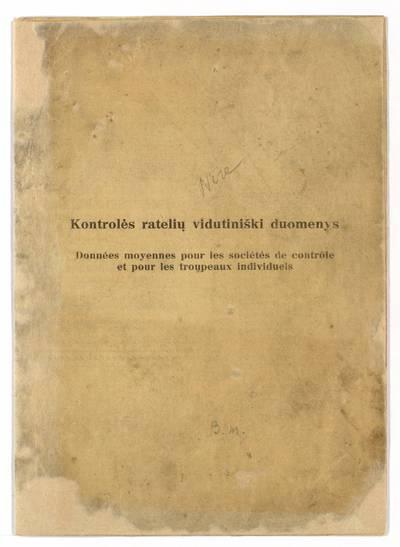 Kontrolės ratelių vidutiniški duomenys. - 1939
