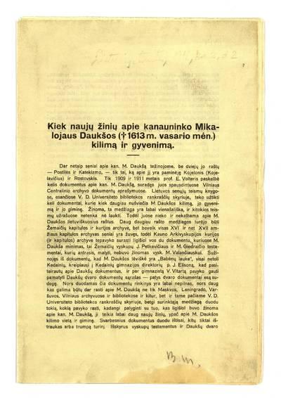 Kiek naujų žinių apie kanauninko Mikalojaus daukšos (†1613 m. vasario mėn.) kilimą ir gyvenimą / [sudarė Konstantinas Jablonskis]. - 1931