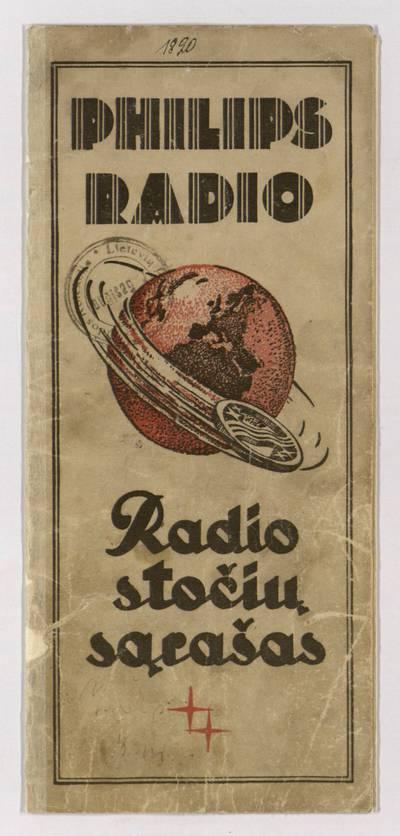 Radio stočių sąrašas. - 1930