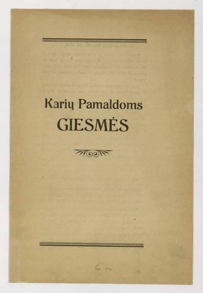 Karių pamaldoms giesmės. - apie 1928