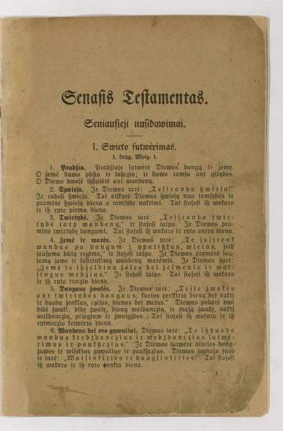 Senasis testamentas. Seniausieji nusidavimai. - po 1917