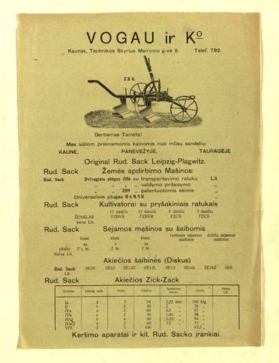 """Gerbamas [sic] Tamsta! """"Mes siūlom prieinamomis kainomis nuo mūsų sandelių..."""" / Vogau ir Ko, Kaunas, Technikos skyrius. - 1924"""