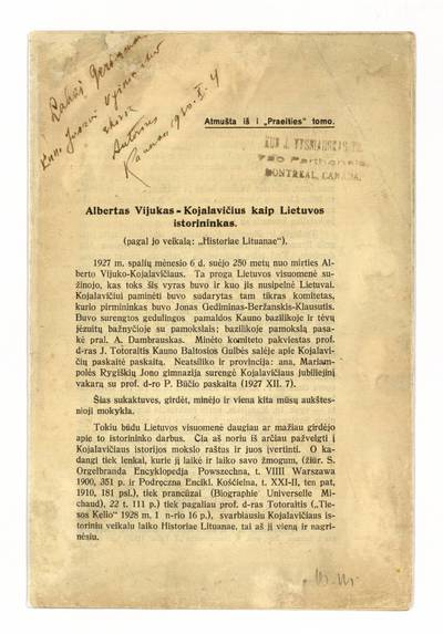 Albertas  Vijukas-Kojalavičius kaip Lietuvos istorininkas / J. Matusas-Sedauskas. - 1930