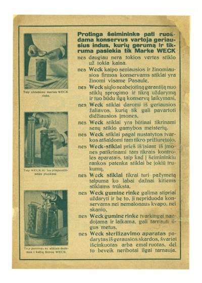 Sunkos gamintojas Weck. - 1930