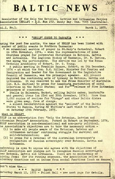 Baltic news. - 1975-1990