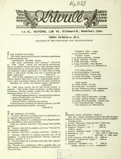 Vyriausiojo skautininko krivulė / Lietuvių skautų brolija. - 1959-1984