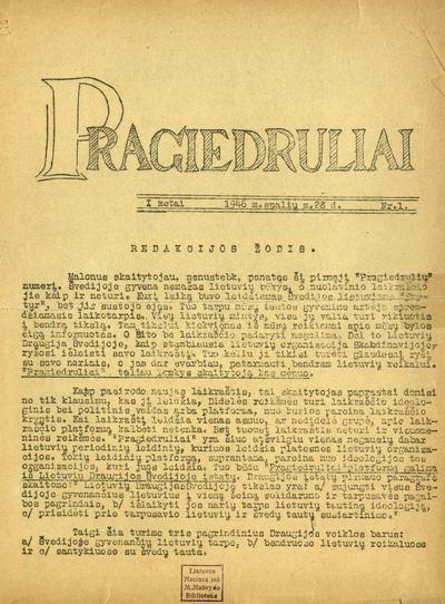 Pragiedruliai / redaguoja redakcinė kolegija: [J. Lingis (vyr. red.)]. - 1946-1949