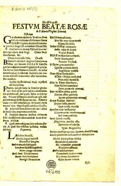 Die 26 Augusti festum Beatae Rosae de S. Maria Virginis Limanae. - 1670]. - [2] p.