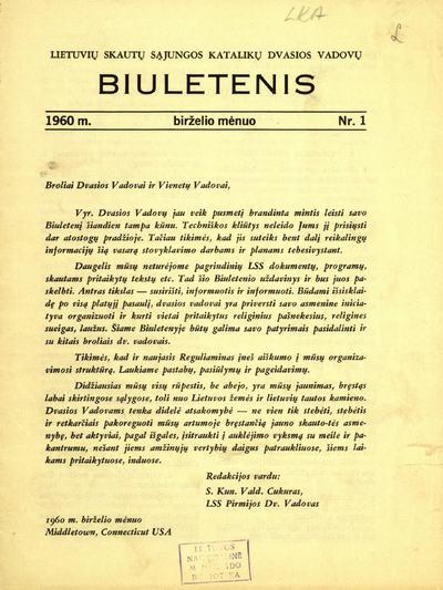 Lietuvių skautų sąjungos katalikų dvasios vadovų biuletenis. - 1960-1961