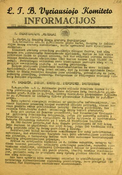 L.T.B. Vyriausiojo komiteto informacijos / Lietuvių tremtinių bendruomenė. Vyriausiasis komitetas. - 1947-1949