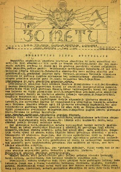 30 metų / Lietuvių skautų sąjunga. - 1948