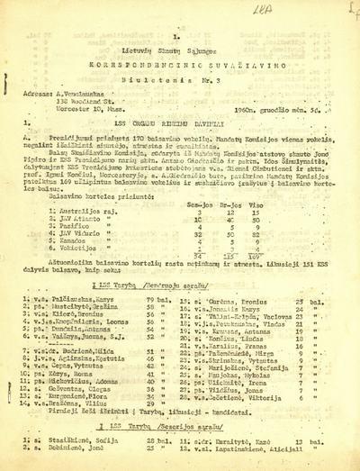 Lietuvių skautų sąjungos korespondencinio suvažiavimo biuletenis. - 1960