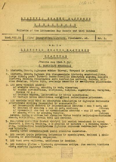 Lietuvių skautų sąjungos biuletenis. - 1946-1949