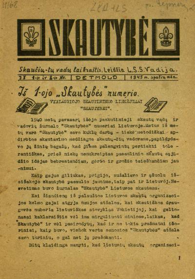 Skautybė / [redagavo R. Giedraitis]. - 1945-1948