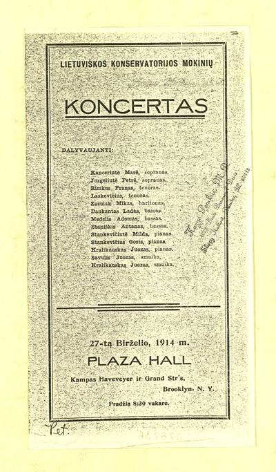 Lietuviškos konservatorijos mokinių koncertas. - 1914]. - [2] p.