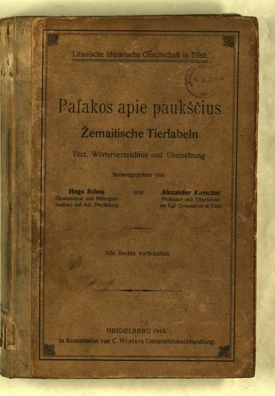 Pasakos apie paukščius. T. 3 : Übersetzung / von Alexander Kurschat. - 1912. - P. [237]-335