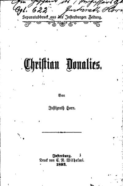 Christian Donalies / von Justizrath Horn. - 1893. - 31 p.