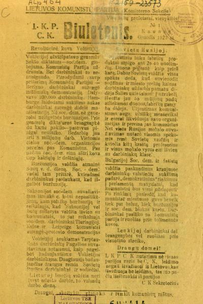LKP CK biuletenis / Lietuvos komunistų partija (Kominterno sekcija). - 1923-1924, 1933-1934