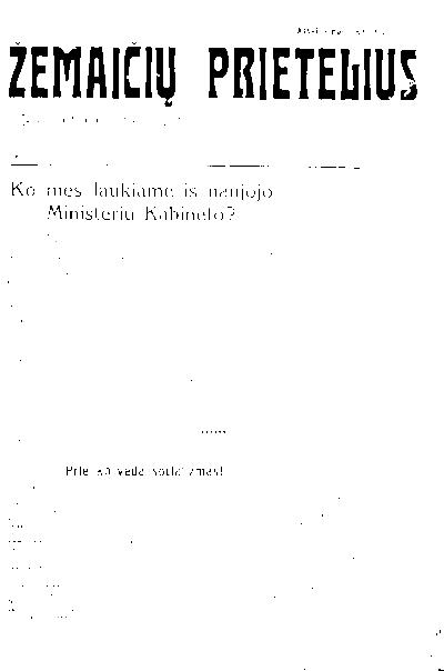 Žemaičių prietelius / atsakomasis redaktorius J. Dagilis. - 1925-1940