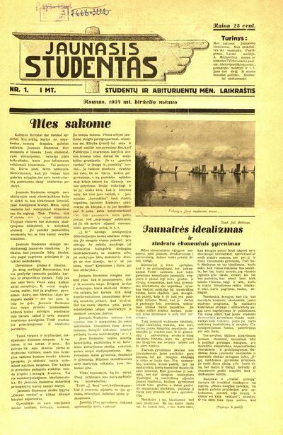 Jaunasis studentas / redaguoja Petras Rimkūnas, atsako Antanas Skirius. - 1934