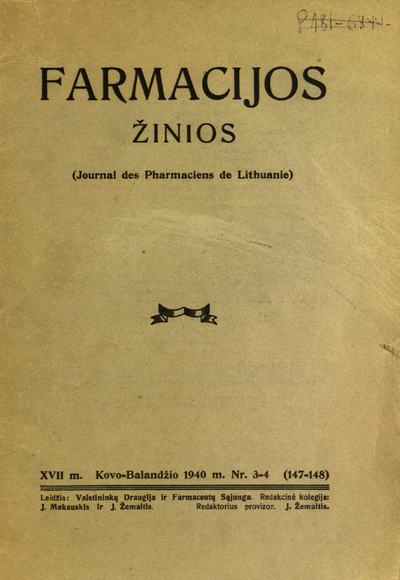 Farmacijos žinios / redaktorius St. Nasvytis. - 1923-1940
