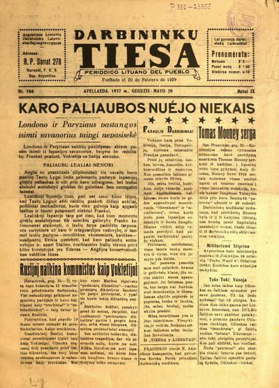 Darbininkų tiesa / [red. Bronius Švedas]. - 1929-1938
