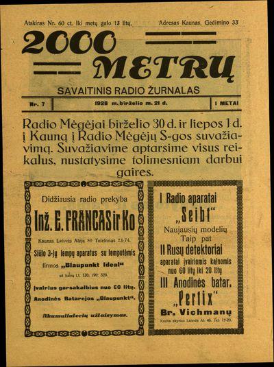2000 metrų / redaguoja Antanas Mildažis. - 1928
