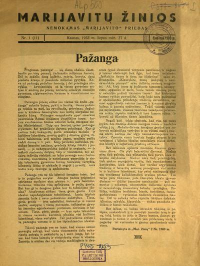 Marijavitų žinios / redaktorius ir leidėjas Jonas Kovalskis. - 1909-1912; 1933