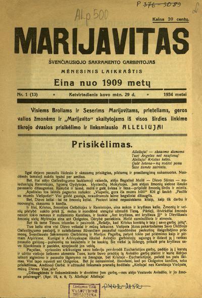 Marijavitas / redaktorius ir leidėjas Jonas Kovalskis. - 1909-1912; 1933-1934