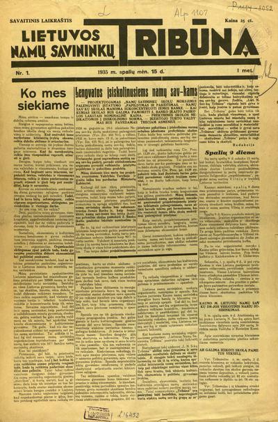 Lietuvos namų savininkų tribūna / atsak. redakt. ir leidėjas V. Jasionis. - 1935