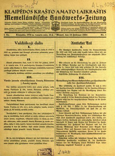 Klaipedos krašto remestininkystes laikraštis / rėdomas ir leidžiamas Remestininkystės kamaros. - 1924-1934