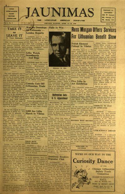 Jaunimas / [redaktoriai] Juozas Poška (Joseph Poshka), Jonas Juozaitis (Jack L. Juozaitis). - 1936-1942