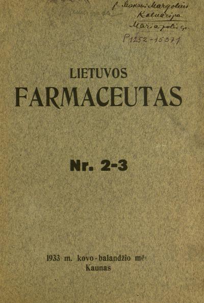 Lietuvos farmaceutas. - 1933