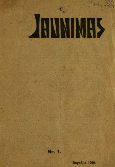 Jaunimas / leidėjas-redaktorius Juozas Tysliava (Juozas Tysleva). - 1919-1920
