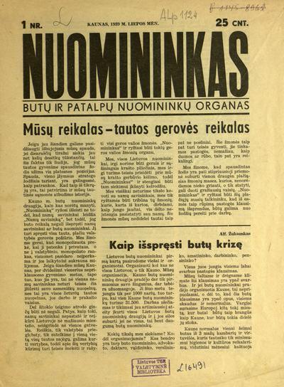 Nuomininkas / [red.] M. Gutauskas. - 1939