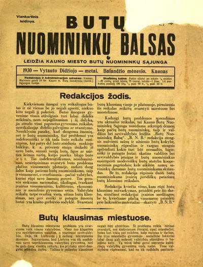 Butų nuomininkų balsas / redagavo redakcinė komisija. - 1930