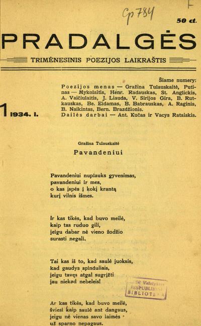 Pradalgės / redaktorius-leidėjas Bernardas Brazdžionis (Bern. Bradžionis). - 1934-1935