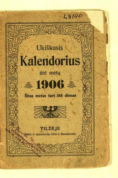 Ūkiškasis kalendorius… ant metų 1906. - [1905]. - 78, [2] p.