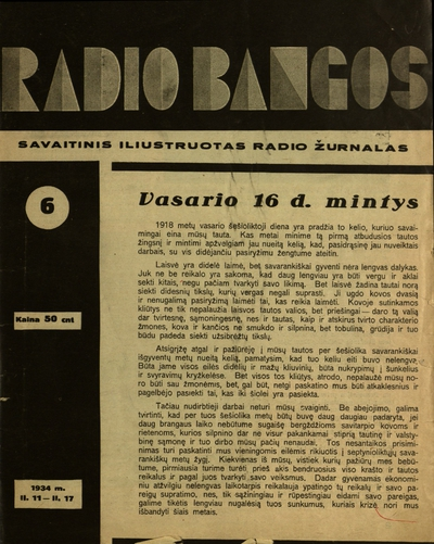 Radio bangos / leid.-red. Vytautas Valys. - 1933-1934